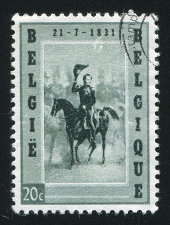 leopold: RUSSIA KALININGRAD, 20 OCTOBER 2015: stamp printed by Belgium, shows Leopold I Entering Brussels, circa 1957