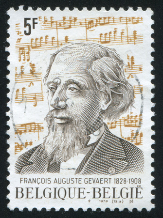sonata: RUSSIA KALININGRAD, 20 OCTOBER 2015: stamp printed by Belgium, shows Francois Auguste Gevaert musicologist and composer, circa 1979 Editorial