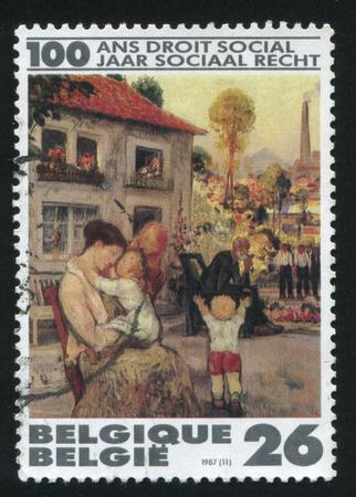 paulus: RUSSIA KALININGRAD, 20 OCTOBER 2015: stamp printed by Belgium, shows Leisure, by P. Paulus, circa 1987