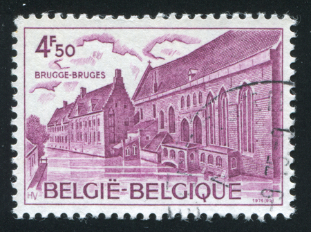 hospice: RUSSIA KALININGRAD, 20 OCTOBER 2015: stamp printed by Belgium, shows Hospice of St. John Bruges, circa 1976