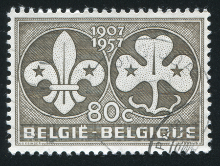 girl scout: RUSSIA KALININGRAD, 20 OCTOBER 2015: stamp printed by Belgium, shows Boy Scout and Girl Scout Emblems, circa 1957