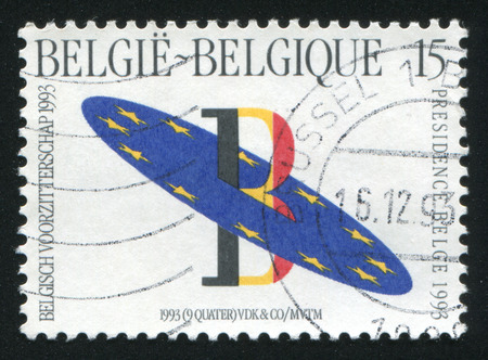 presidency: RUSSIA KALININGRAD, 20 OCTOBER 2015: stamp printed by Belgium, shows Belgian Presidency of European Community Council, circa 1993
