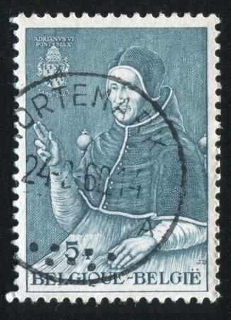 pontiff: RUSSIA KALININGRAD, 20 OCTOBER 2015: stamp printed by Belgium, shows Pope Adrian VI, by Jan van Scorel, circa 1959 Editorial