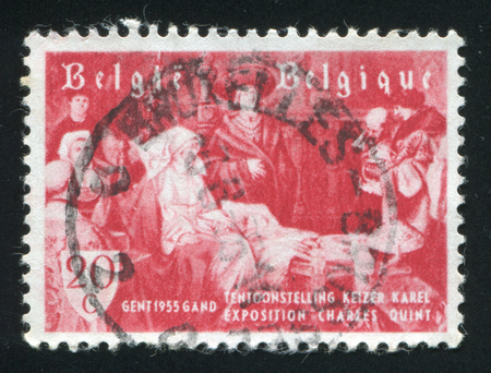 albrecht: RUSSIA KALININGRAD, 20 OCTOBER 2015: stamp printed by Belgium, shows Homage to Charles V as a Child, by Albrecht de Vriendt, circa 1955 Editorial