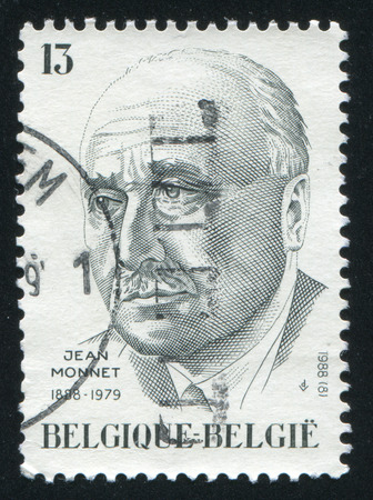 economist: RUSSIA KALININGRAD, 20 OCTOBER 2015: stamp printed by Belgium, shows Jean Monnet French Economist, circa 1988
