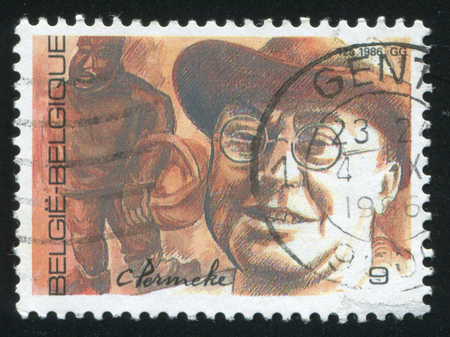 constant: RUSSIA KALININGRAD, 20 OCTOBER 2015: stamp printed by Belgium, shows Constant Permeke, painter sculptor, circa 1986