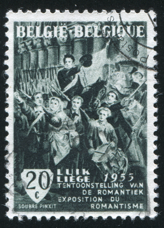liege: RUSSIA KALININGRAD, 20 OCTOBER 2015: stamp printed by Belgium, shows Departure of Volunteers from Liege, 1830, by Charles Soubre, circa 1955