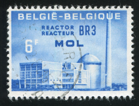 reactor: RUSSIA KALININGRAD, 20 OCTOBER 2015: stamp printed by Belgium, shows Atomic Reactor plant BR3, circa 1961