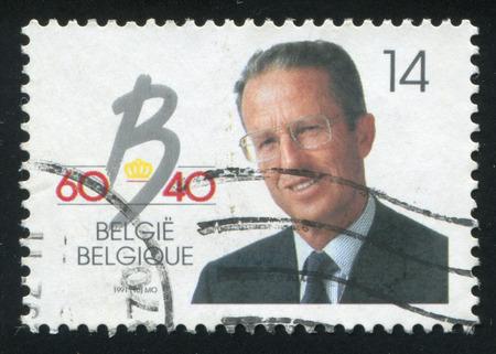 baudouin: RUSSIA KALININGRAD, 20 OCTOBER 2015: stamp printed by Belgium, shows King Baudouin Coronation, circa 1991