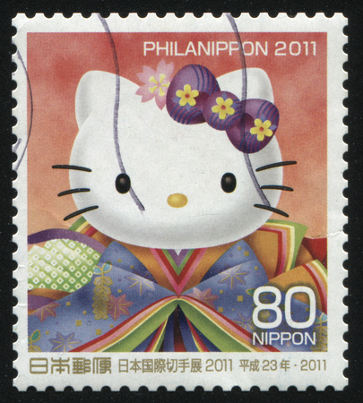 fictional character: RUSSIA KALININGRAD, 18 MARCH 2016: stamp printed by Japan shows Hello Kitty fictional character, circa 2011 Editorial
