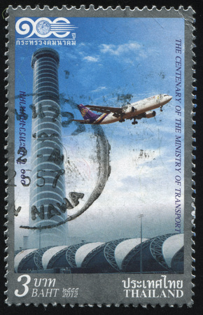RUSSIA KALININGRAD, 2 JUNE 2016: stamp printed by Thailand, shows plane in the sky near the tower, circa 2012