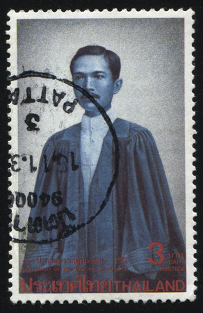 rabi: RUSSIA KALININGRAD, 2 JUNE 2016: stamp printed by Thailand shows Prince Rabi Badhanasakdi of Ratchaburi, founder of Thailand's School of Law, circa 1992 Editorial