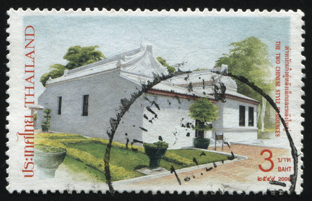 residences: RUSSIA KALININGRAD, 31 MAY 2016: stamp printed by Thailand, shows the two Chinese style residences, circa 2006 Editorial