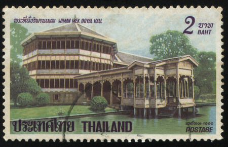 sky brunch: RUSSIA KALININGRAD, 31 MAY 2016: stamp printed by Thailand, shows Wiman Mek Royal hall, circa 1990