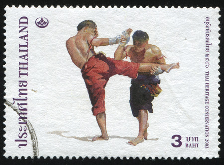 RUSSIA KALININGRAD, 2 JUNE 2016: stamp printed by Thailand shows Thai boxing, circa 2003