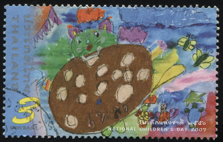 palitra: RUSSIA KALININGRAD, 31 MAY 2016: stamp printed by Thailand, shows Children drawing, circa 2007