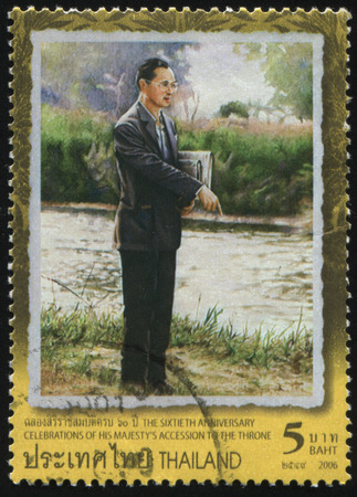 adulyadej: RUSSIA KALININGRAD, 31 MAY 2016: stamp printed by Thailand shows King Bhumibol Adulyadej, circa 2006