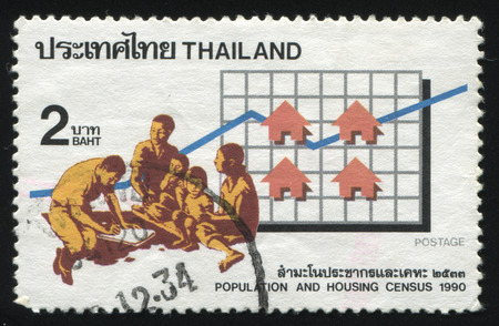 census: RUSSIA KALININGRAD, 31 MAY 2016: stamp printed by Thailand, shows a man carring out a census, circa 1990