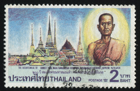 cassock: RUSSIA KALININGRAD, 31 MAY 2016: stamp printed by Thailand, shows supreme patriarch on the temple background, circa 1990