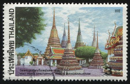 RUSSIA KALININGRAD, 31 MAY 2016: stamp printed by Thailand, shows wat phra chetuphon wimon mangkhalaram, circa 2002 Editorial