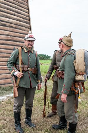 german soldier: KALININGRAD RUSSIA, 21 AUGUST 2016: Historical reenactment of the Battle of Gumbinnen, World War I, German soldier  Kaliningrad region, Russia. Editorial