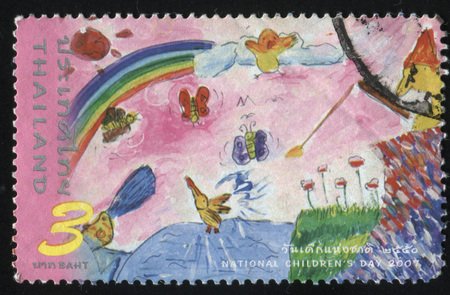 RUSSIA KALININGRAD, 2 JUNE 2016: stamp printed by Thailand, shows children drawing of rainbow, birds, field near the river, circa 2007