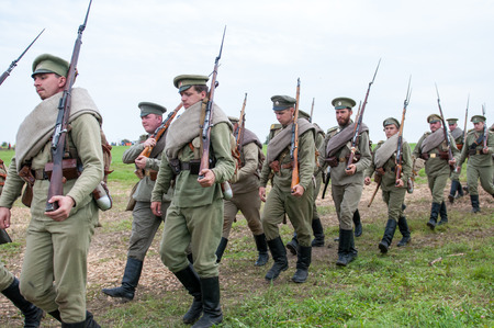 antique rifle: KALININGRAD RUSSIA, 21 AUGUST 2016: Historical reenactment of the Battle of Gumbinnen, World War I, Russian soldier  Kaliningrad region, Russia.