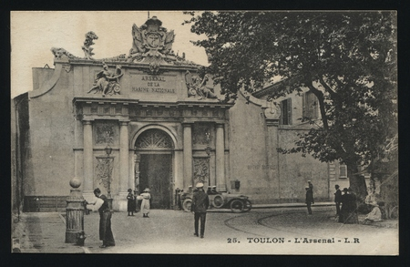 toulon: RUSSIA KALININGRAD, 19 SEPTEMBER 2016: postcard printed by France shows Toulon vintage architecture, circa 1900
