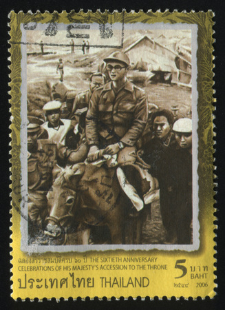 adulyadej: RUSSIA KALININGRAD, 31 MAY 2016: stamp printed by Thailand, shows King Bhumibol Adulyadej, cirka 2006 Editorial