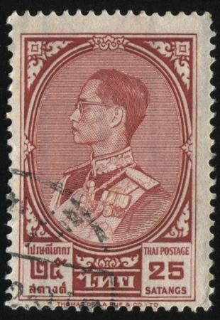 adulyadej: RUSSIA KALININGRAD, 3 JUNE 2016: stamp printed by Thailand shows king Bhumibol Adulyadej, circa 1961