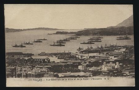 toulon: RUSSIA KALININGRAD, 19 SEPTEMBER 2016: postcard printed by France shows Toulon harbor, circa 1900 Editorial