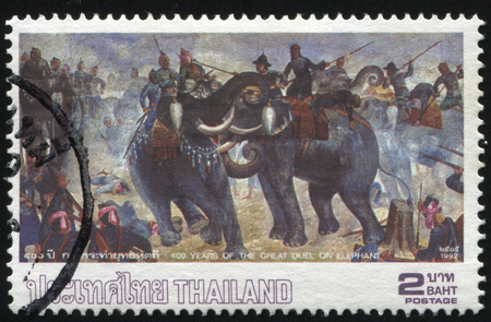 trample: RUSSIA KALININGRAD, 31 MAY 2016: stamp printed by Thailand, shows illustration of duel on elephant, dedicated to 400 years of the great duel on elephant, circa 1992 Editorial