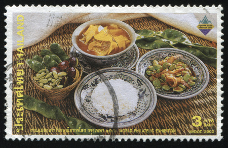 tailes: RUSSIA KALININGRAD, 31 MAY 2016: stamp printed by Thailand, shows food on the table, circa 2002