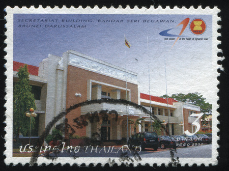 secretariat: RUSSIA KALININGRAD, 31 MAY 2016: stamp printed by Thailand, shows front of the secretariat building, circa 2007 Editorial