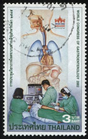 gastroenterology: RUSSIA KALININGRAD, 31 MAY 2016: stamp printed by Thailand, shows illustration of world congress of gastroenterology, cirka 2002
