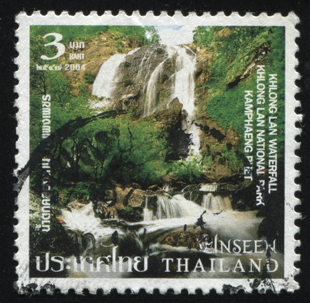 vintage riffle: RUSSIA KALININGRAD, 4 JUNE 2016: stamp printed by Thailand, shows Khlong Lan Waterfall at Khlong Lan National Park, circa 2004