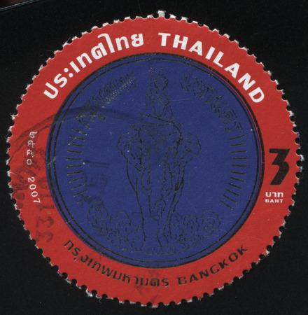 godlike: RUSSIA KALININGRAD, 4 JUNE 2016: stamp printed by Thailand, shows a God on an elephant Airavata (emblem of  Bangkok), circa 2008