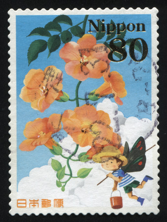 RUSSIA KALININGRAD, 19 APRIL 2016: stamp printed by Japan shows flower, circa 2012