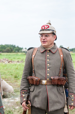 KALININGRAD RUSSIA, 21 AUGUST 2016: Historical reenactment of the Battle of Gumbinnen, World War I, German soldier  Kaliningrad region, Russia. Editorial