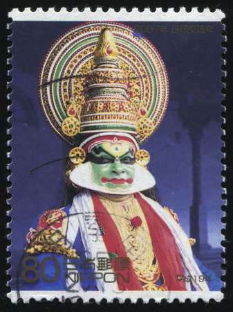 RUSSIA KALININGRAD, 18 MARCH 2016: stamp printed by Japan, shows asian man in a colorful mask and a in the costume, Kabuki, circa 2007