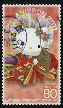 aureola: RUSSIA KALININGRAD, 18 MARCH 2016: stamp printed by Japan, shows Hello Kitty in kimono, circa 2011 Editorial