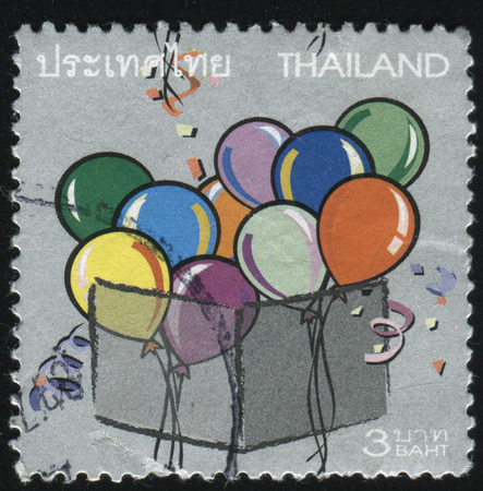 interweave: RUSSIA KALININGRAD, 3 JUNE 2016: stamp printed by Thailand, shows ballons in the box, circa 2004