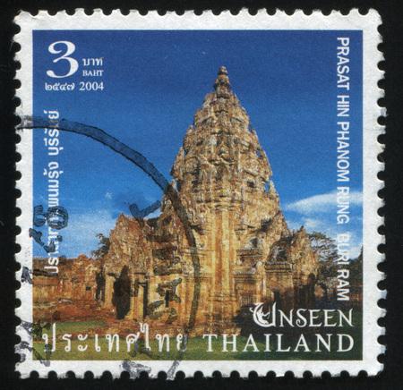 RUSSIA KALININGRAD, 3 JUNE 2016: stamp printed by Thailand, shows red marple leaves in Prasat Hin Phanom Rung Historical Park, Buriram Province, 2004. Editorial