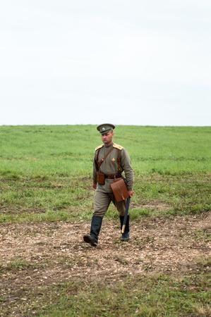 KALININGRAD RUSSIA, 21 AUGUST 2016: Historical reenactment of the Battle of Gumbinnen, World War I, soldier  Kaliningrad region, Russia.