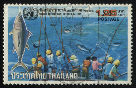 RUSSIA KALININGRAD, 2 JUNE 2016: stamp printed by Thailand, shows amazing fishing, 1983 Editorial