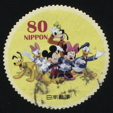 multiplication: RUSSIA KALININGRAD, 22 APRIL 2016: stamp printed by Japan, shows Disney characters together, circa 2011 Editorial