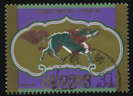 RUSSIA KALININGRAD, 22 APRIL 2016: stamp printed by Japan, shows strange creature is jogging, circa 2009