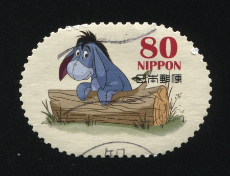 RUSSIA KALININGRAD, 22 APRIL 2016: stamp printed by Japan, shows Eeyore donkey, circa 2011