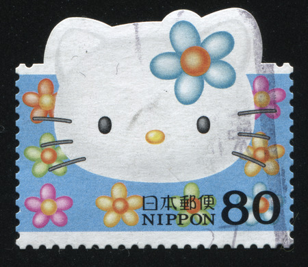 RUSSIA KALININGRAD, 22 APRIL 2016: stamp printed by Japan, shows Hello Kitty, circa 2011 Editorial