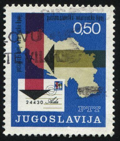 yugoslavia: RUSSIA KALININGRAD, 12 NOVEMBER 2016: stamp printed by Yugoslavia, shows letter with postal code and map of Yugoslavia, circa 1971 Editorial
